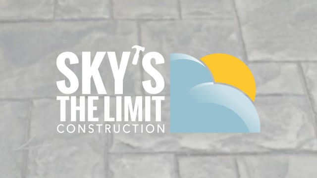 Sky's the Limit Logo with stamped concrete background